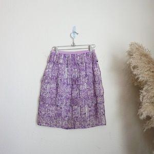 Zimmerman purple floral criss cross silk skirt
